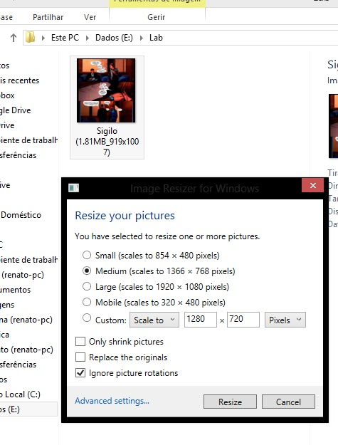 2 - Escolha uma opção para comprimir a página