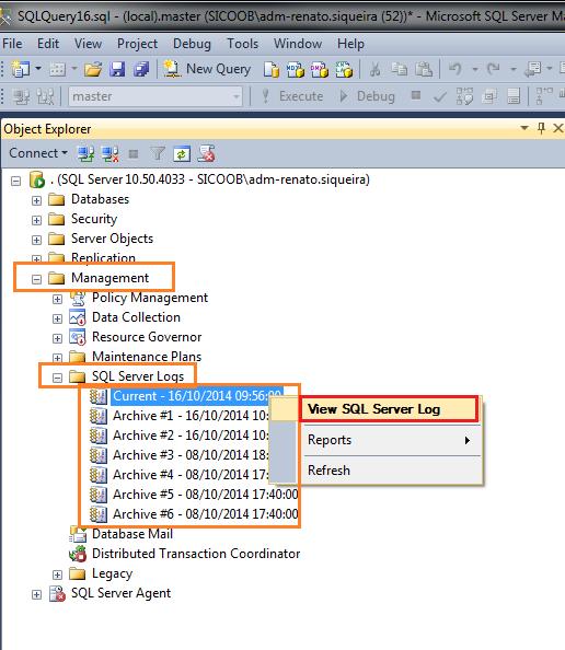 Acesse a instância > Management > SQL Server Logs